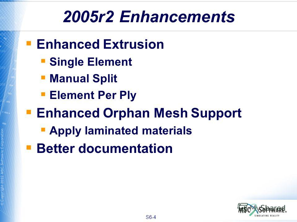 S6-4 2005r2 Enhancements Enhanced Extrusion Single Element Manual Split Element Per Ply Enhanced Orphan Mesh Support Apply laminated materials Better documentation