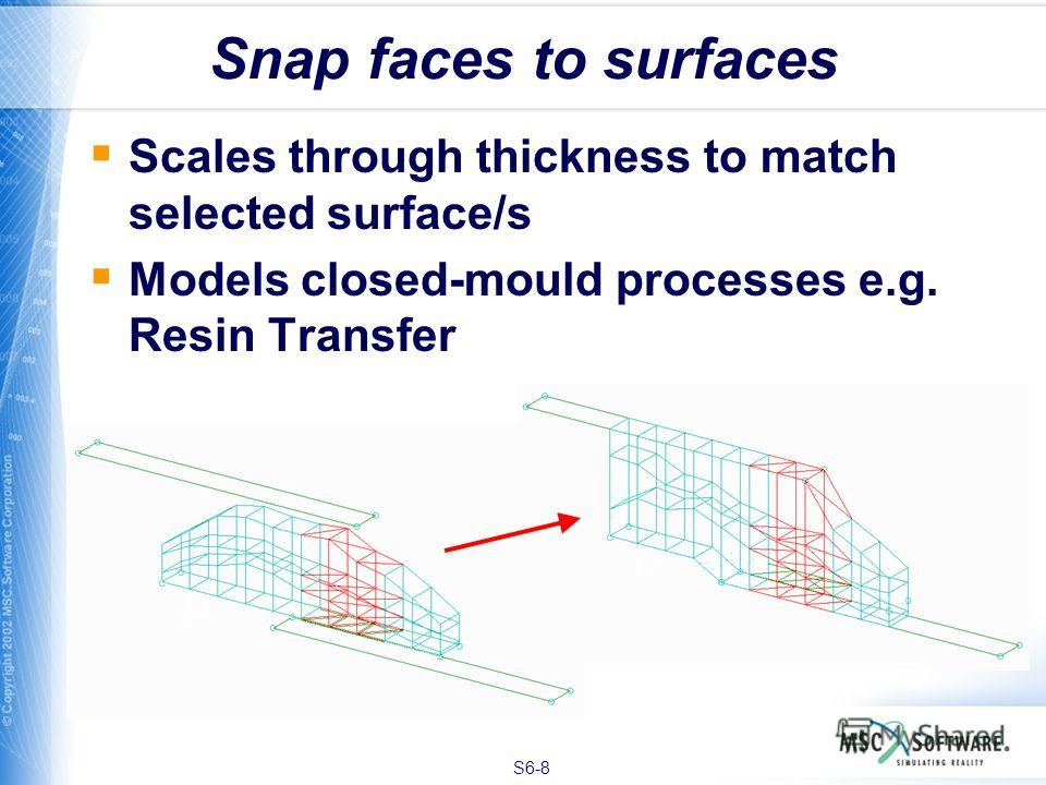 S6-8 Scales through thickness to match selected surface/s Models closed-mould processes e.g. Resin Transfer Snap faces to surfaces