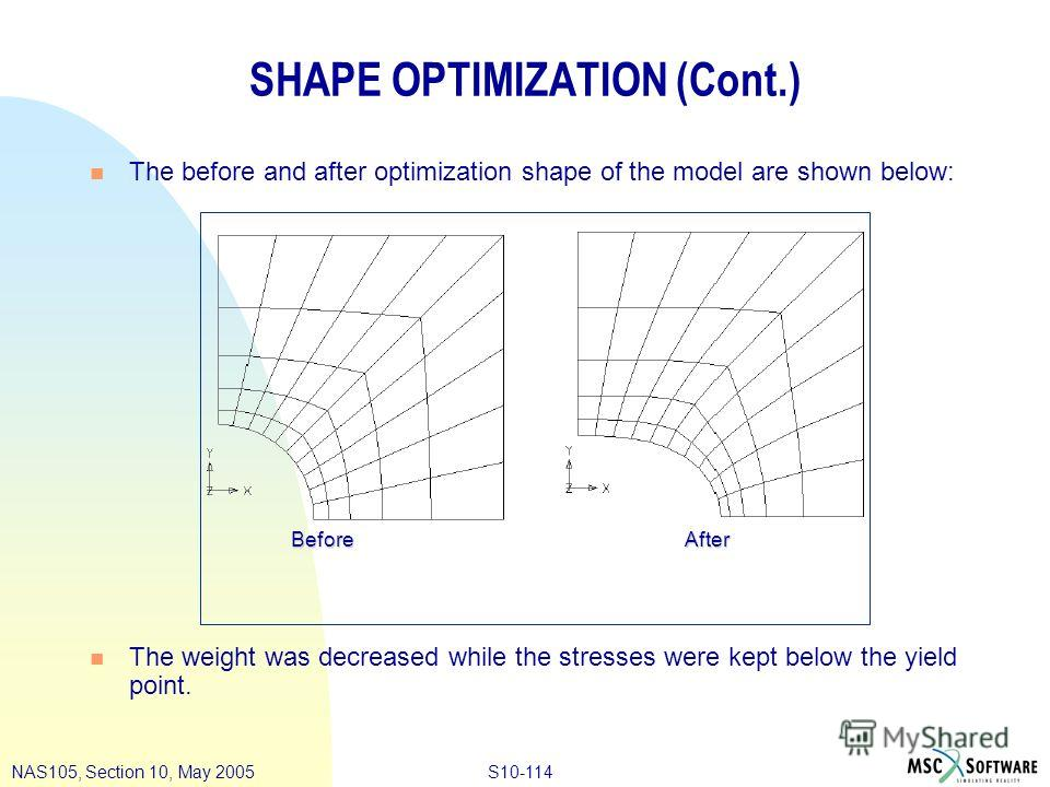S10-114NAS105, Section 10, May 2005 SHAPE OPTIMIZATION (Cont.) n The before and after optimization shape of the model are shown below: n The weight was decreased while the stresses were kept below the yield point. BeforeAfter