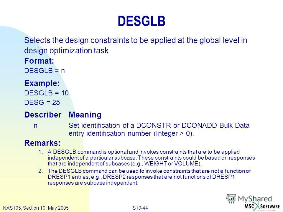 S10-44NAS105, Section 10, May 2005 DESGLB Selects the design constraints to be applied at the global level in design optimization task. Format: DESGLB = n Example: DESGLB = 10 DESG = 25 DescriberMeaning n Set identification of a DCONSTR or DCONADD Bu