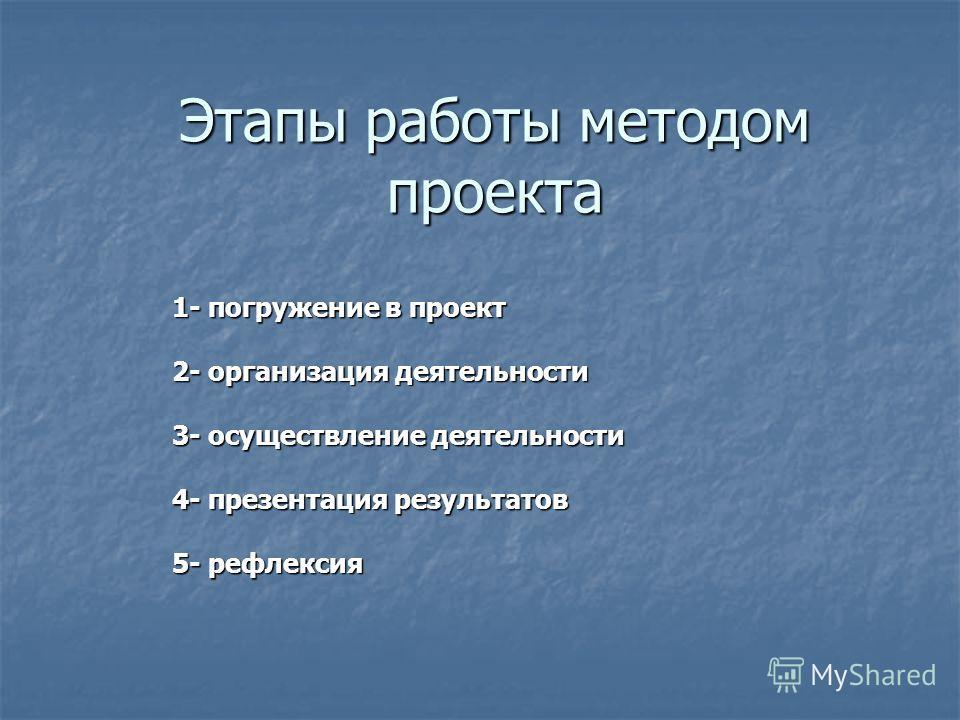 Этапы работы методом проекта 1- погружение в проект 2- организация деятельности 3- осуществление деятельности 4- презентация результатов 5- рефлексия