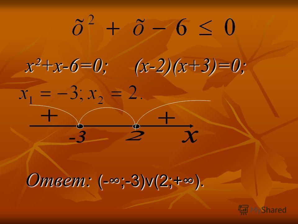 x²+x-6=0; (х-2)(х+3)=0; Ответ: (-;-3)v(2;+).