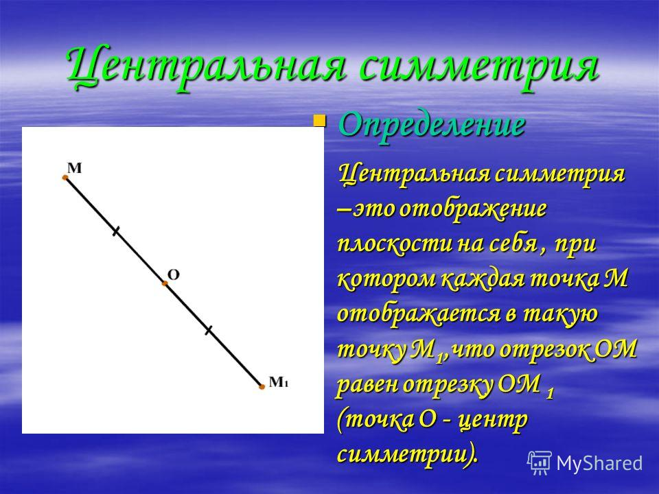Центральная симметрия Определение Центральная симметрия –это отображение плоскости на себя, при котором каждая точка М отображается в такую точку М1,что отрезок ОМ равен отрезку ОМ 1 (точка О - центр симметрии).
