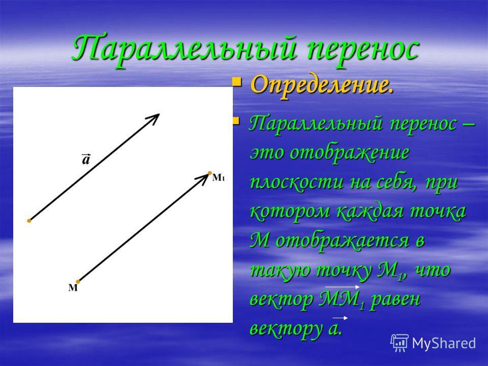 Параллельный перенос Определение. Параллельный перенос – это отображение плоскости на себя, при котором каждая точка М отображается в такую точку М1, что вектор ММ1 равен вектору а.