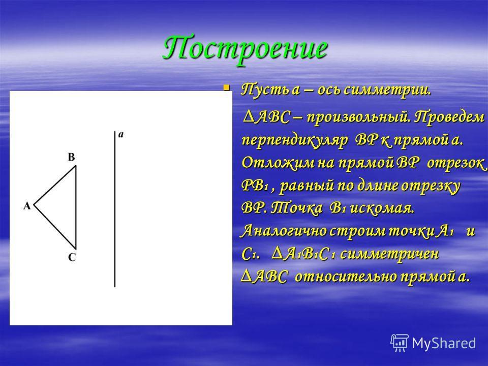 Построение Пусть а – ось симметрии. АВС – произвольный. Проведем перпендикуляр ВР к прямой а. Отложим на прямой ВР отрезок РВ1, равный по длине отрезку ВР. Точка В1 искомая. Аналогично строим точки А1 и С1. А1В1С 1 симметричен АВС относительно прямой