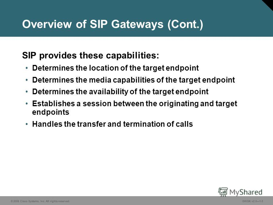 © 2006 Cisco Systems, Inc. All rights reserved.GWGK v2.01-3 Overview of SIP Gateways (Cont.) SIP provides these capabilities: Determines the location of the target endpoint Determines the media capabilities of the target endpoint Determines the avail
