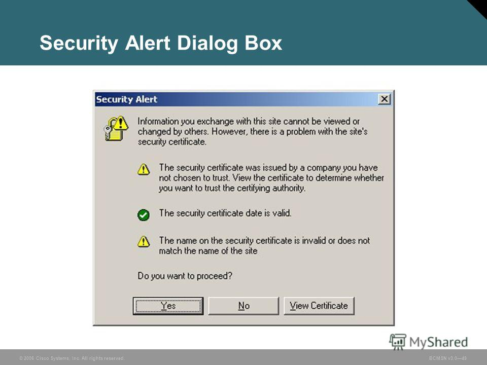 © 2006 Cisco Systems, Inc. All rights reserved.BCMSN v3.049 Security Alert Dialog Box