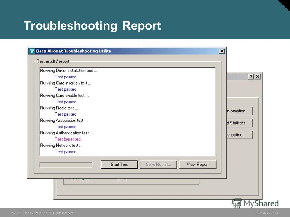 © 2006 Cisco Systems, Inc. All rights reserved.BCMSN v3.073 Troubleshooting Report