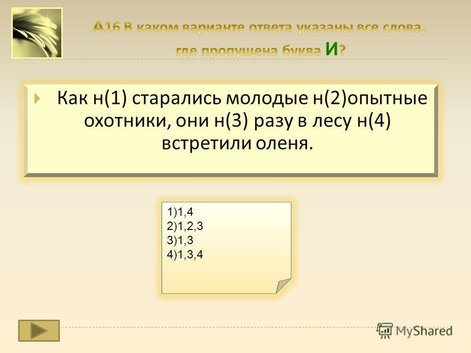 Как н (1) старались молодые н (2) опытные охотники, они н (3) разу в лесу н (4) встретили оленя. 1)1,4 2)1,2,3 3)1,3 4)1,3,4