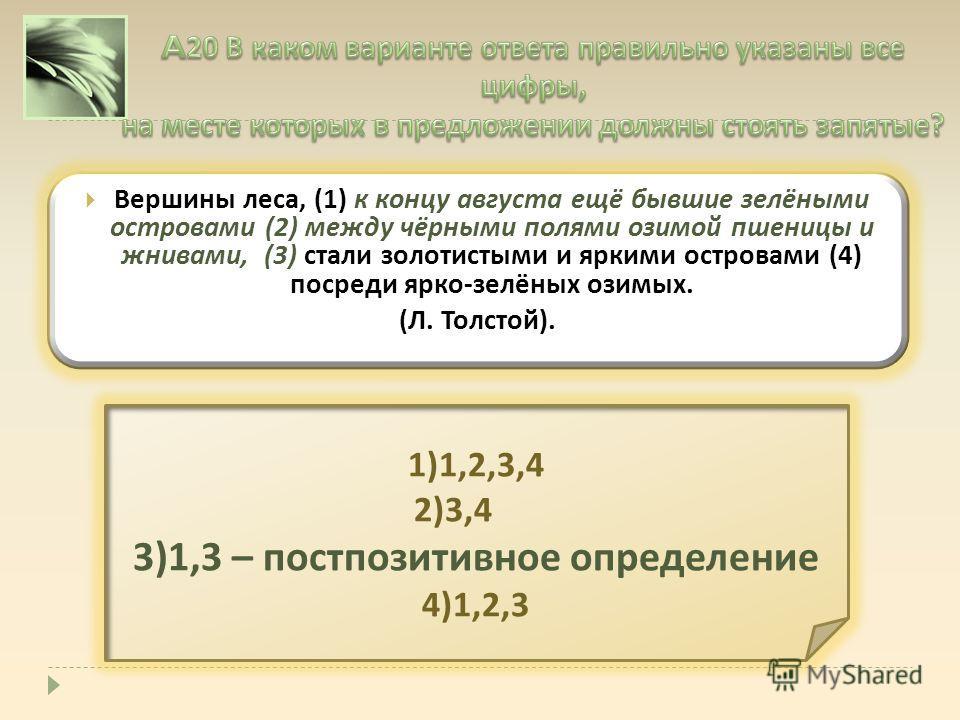 Вершины леса, (1) к концу августа ещё бывшие зелёными островами (2) между чёрными полями озимой пшеницы и жнивами, (3) стали золотистыми и яркими островами (4) посреди ярко - зелёных озимых. ( Л. Толстой ). 1)1,2,3,4 2)3,4 3)1,3 – постпозитивное опре