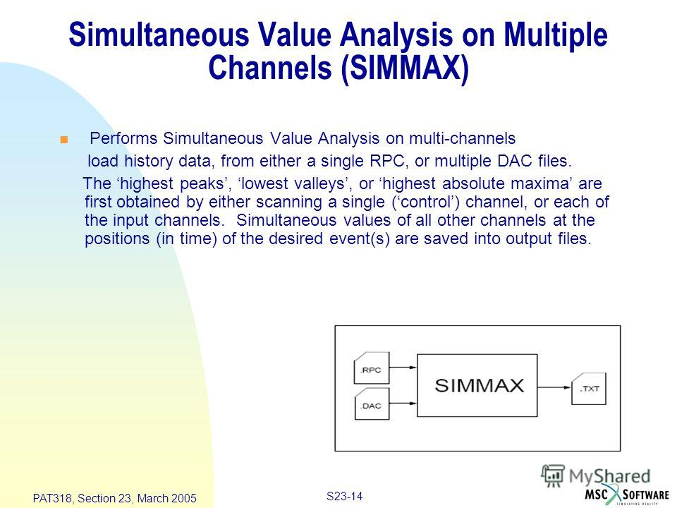S23-14 PAT318, Section 23, March 2005 Simultaneous Value Analysis on Multiple Channels (SIMMAX) n Performs Simultaneous Value Analysis on multi-channels load history data, from either a single RPC, or multiple DAC files. The highest peaks, lowest val