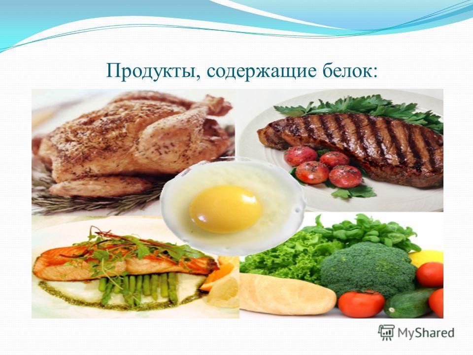 Продукты, содержащие белок: