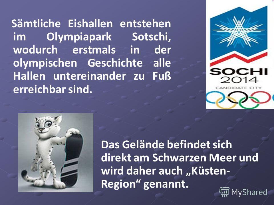 Sämtliche Eishallen entstehen im Olympiapark Sotschi, wodurch erstmals in der olympischen Geschichte alle Hallen untereinander zu Fuß erreichbar sind. Das Gelände befindet sich direkt am Schwarzen Meer und wird daher auch Küsten- Region genannt.
