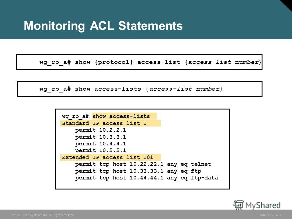 © 2006 Cisco Systems, Inc. All rights reserved. ICND v2.34-20 Monitoring ACL Statements wg_ro_a# show access-lists Standard IP access list 1 permit 10.2.2.1 permit 10.3.3.1 permit 10.4.4.1 permit 10.5.5.1 Extended IP access list 101 permit tcp host 1