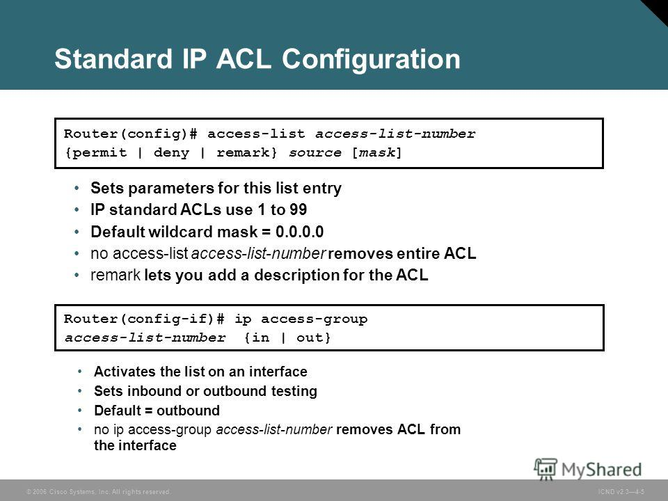 © 2006 Cisco Systems, Inc. All rights reserved. ICND v2.34-5 Activates the list on an interface Sets inbound or outbound testing Default = outbound no ip access-group access-list-number removes ACL from the interface Router(config-if)# ip access-grou
