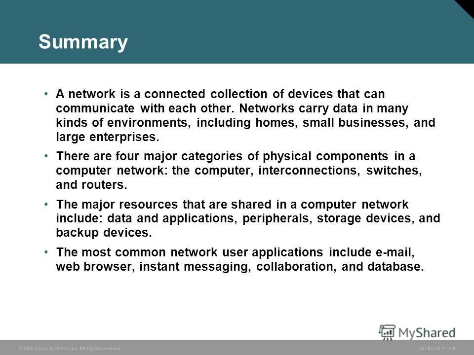 © 2005 Cisco Systems, Inc. All rights reserved.INTRO v2.11-9 Summary A network is a connected collection of devices that can communicate with each other. Networks carry data in many kinds of environments, including homes, small businesses, and large