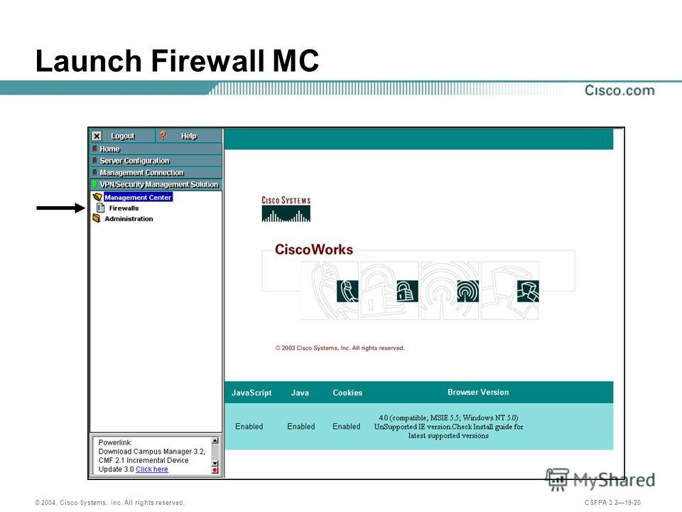 © 2004, Cisco Systems, Inc. All rights reserved. CSFPA 3.219-20 Launch Firewall MC
