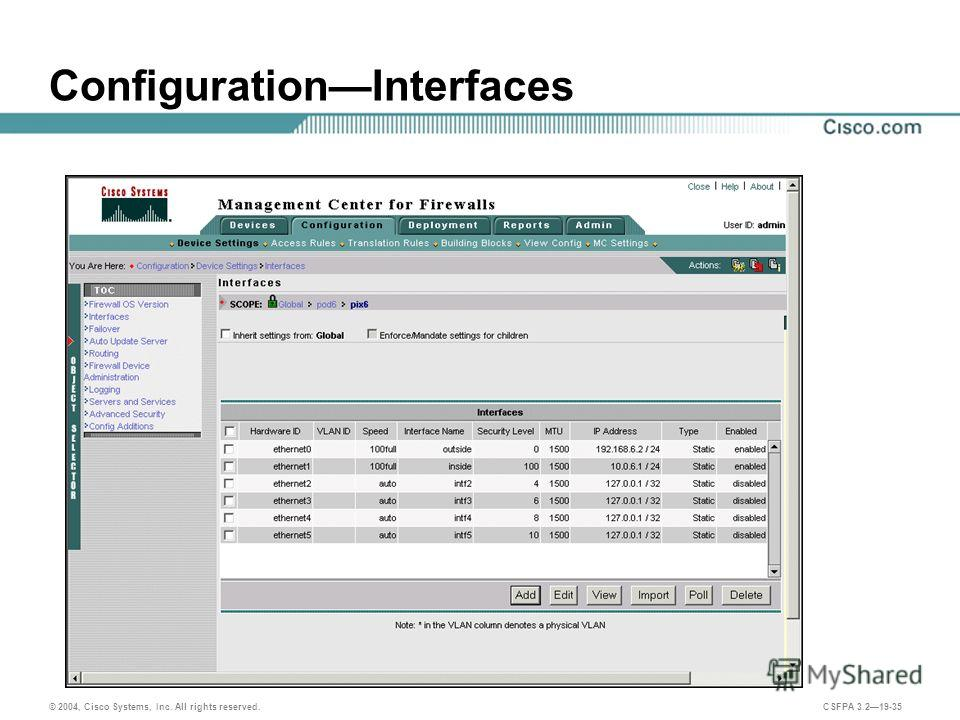 © 2004, Cisco Systems, Inc. All rights reserved. CSFPA 3.219-35 ConfigurationInterfaces