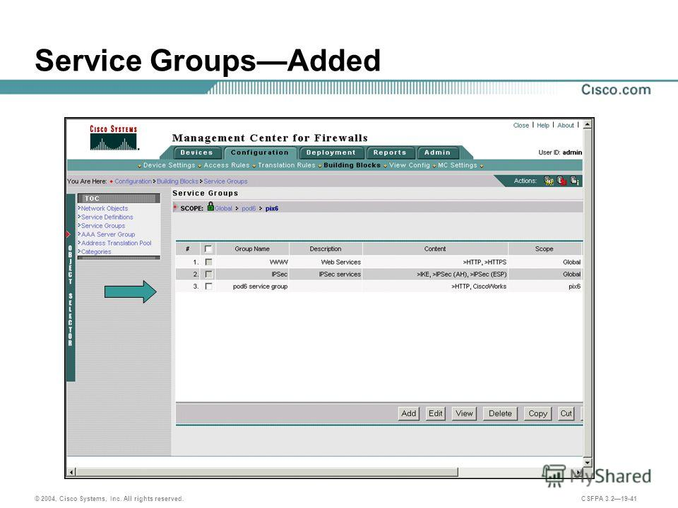 © 2004, Cisco Systems, Inc. All rights reserved. CSFPA 3.219-41 Service GroupsAdded