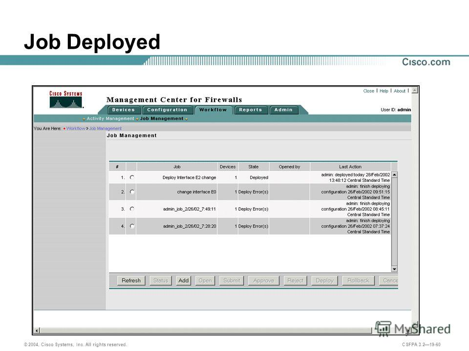 © 2004, Cisco Systems, Inc. All rights reserved. CSFPA 3.219-60 Job Deployed