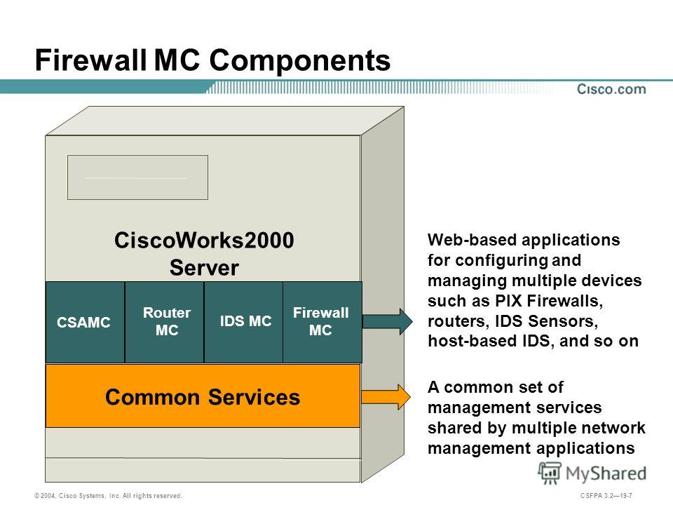 © 2004, Cisco Systems, Inc. All rights reserved. CSFPA 3.219-7 Firewall MC Components A common set of management services shared by multiple network management applications Web-based applications for configuring and managing multiple devices such as