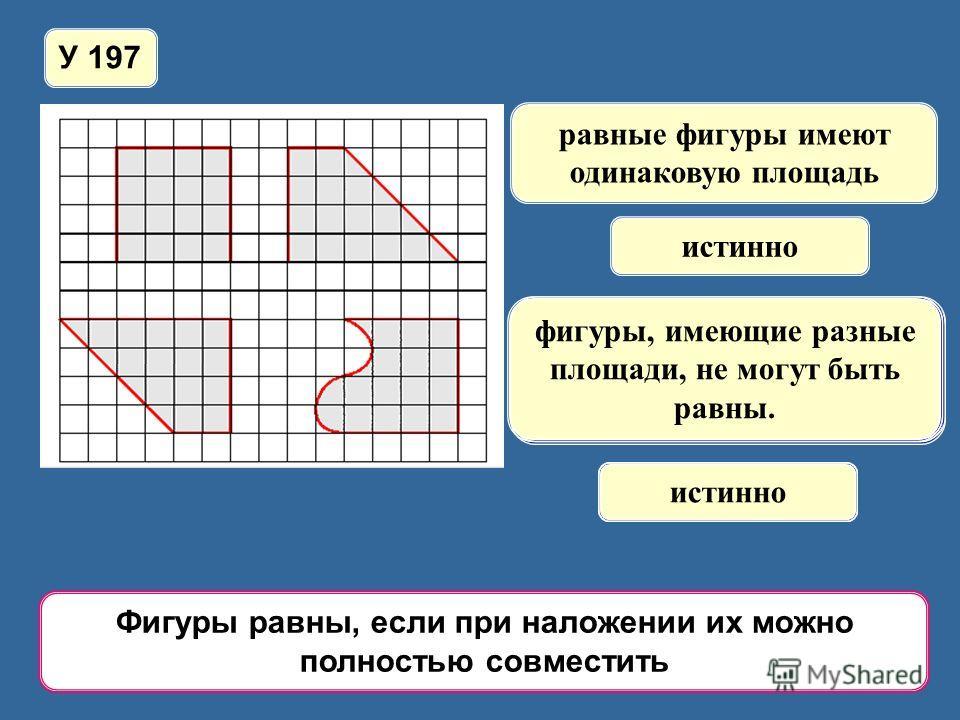 У 197 равные фигуры имеют одинаковую площадь истинно фигуры, имеющие одинаковую площадь, равны; ложно если фигуры не равны, то их площади тоже не равны; ложно фигуры, имеющие разные площади, не могут быть равны. истинно Фигуры равны, если при наложен