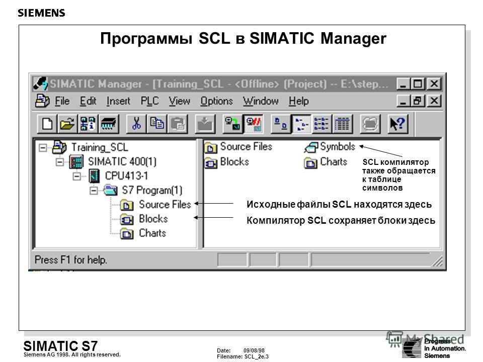 Date: 09/08/98 Filename: SCL_2e.3 SIMATIC S7 Siemens AG 1998. All rights reserved. Программы SCL в SIMATIC Manager Исходные файлы SCL находятся здесь Компилятор SCL сохраняет блоки здесь SCL компилятор также обращается к таблице символов