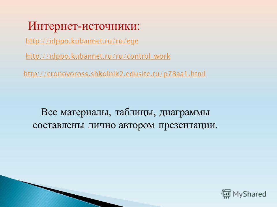 Все материалы, таблицы, диаграммы составлены лично автором презентации. http://idppo.kubannet.ru/ru/ege http://idppo.kubannet.ru/ru/control_work http://cronovoross.shkolnik2.edusite.ru/p78aa1. html Интернет-источники: