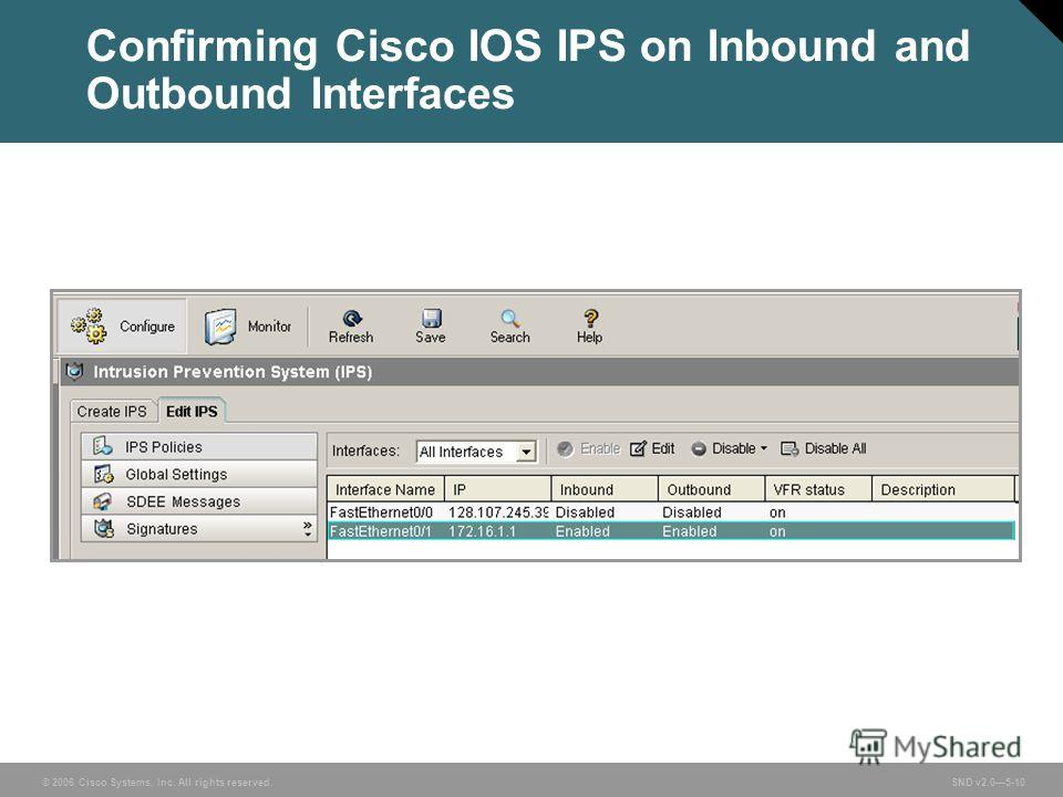 © 2006 Cisco Systems, Inc. All rights reserved. SND v2.05-10 Confirming Cisco IOS IPS on Inbound and Outbound Interfaces