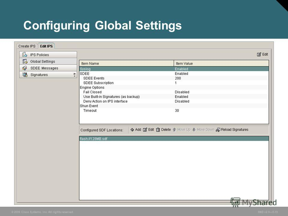 © 2006 Cisco Systems, Inc. All rights reserved. SND v2.05-15 Configuring Global Settings