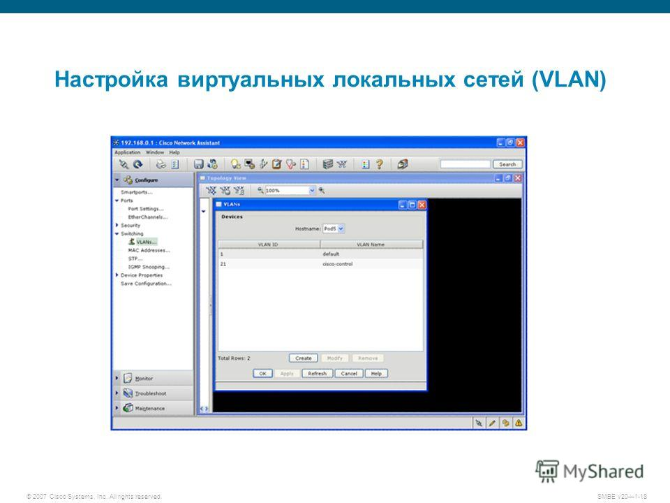 © 2007 Cisco Systems, Inc. All rights reserved. SMBE v201-18 Настройка виртуальных локальных сетей (VLAN)