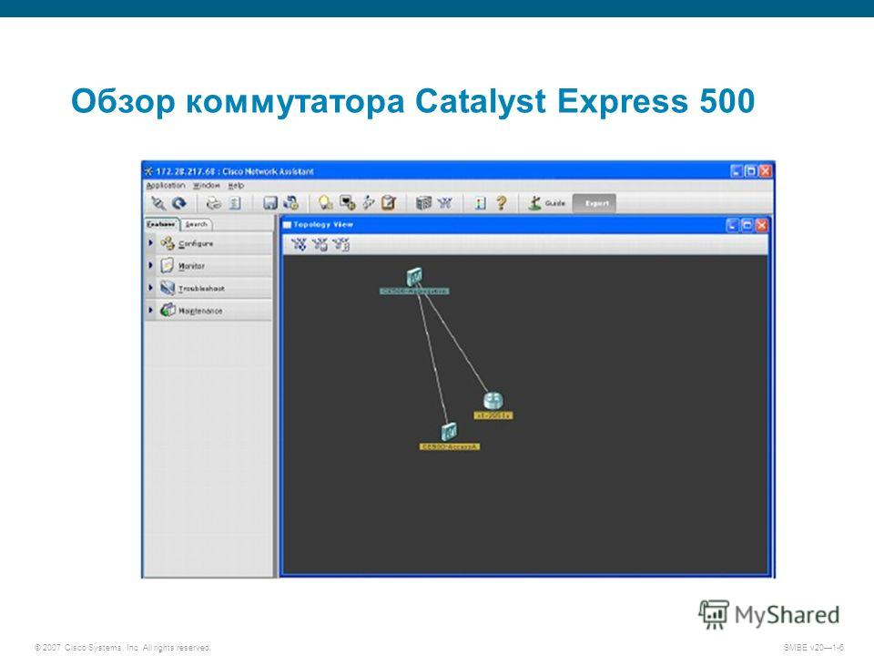 © 2007 Cisco Systems, Inc. All rights reserved. SMBE v201-6 Обзор коммутатора Catalyst Express 500