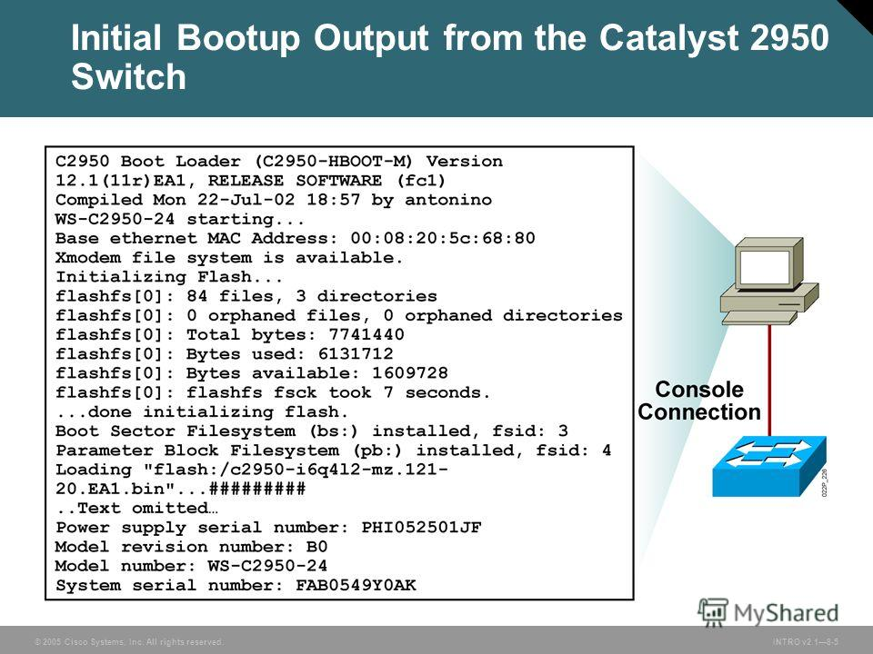 © 2005 Cisco Systems, Inc. All rights reserved.INTRO v2.18-5 Initial Bootup Output from the Catalyst 2950 Switch