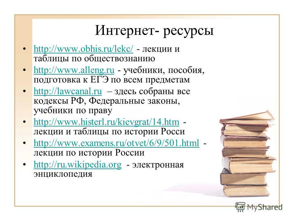 Интернет- ресурсы http://www.obhis.ru/lekc/ - лекции и таблицы по обществознаниюhttp://www.obhis.ru/lekc/ http://www.alleng.ru - учебники, пособия, подготовка к ЕГЭ по всем предметамhttp://www.alleng.ru http://lawcanal.ru – здесь собраны все кодексы