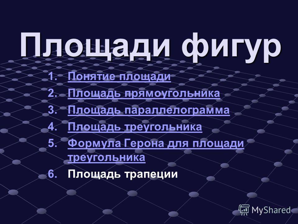 Площади фигур 1. 1. Понятие площади Понятие площади 2. 2. Площадь прямоугольника Площадь прямоугольника 3. 3. Площадь параллелограмма Площадь параллелограмма 4. 4. Площадь треугольника Площадь треугольника 5. 5. Формула Герона для площади треугольник