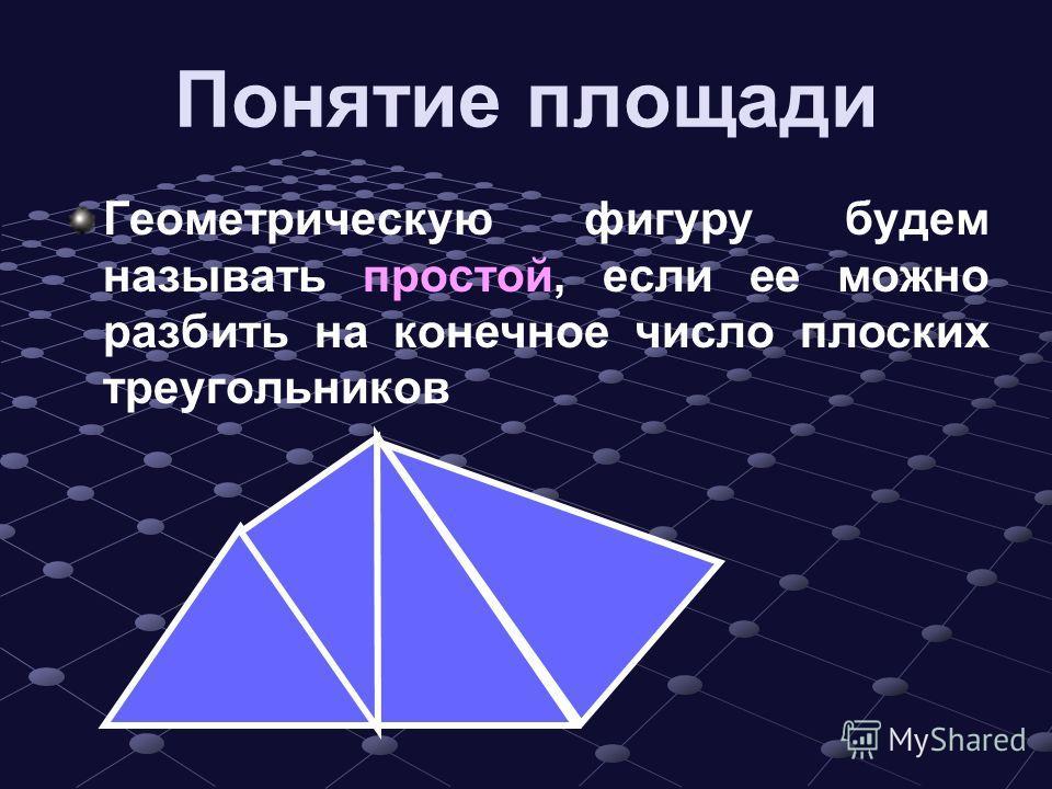 Понятие площади Геометрическую фигуру будем называть простой, если ее можно разбить на конечное число плоских треугольников