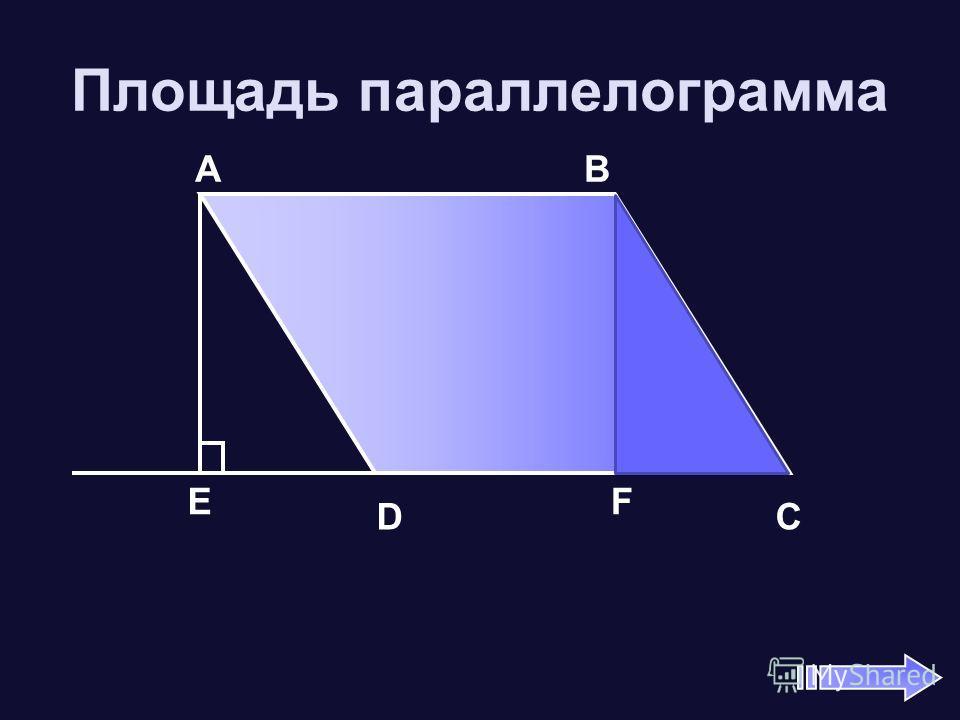 Площадь параллелограмма А В D C EF