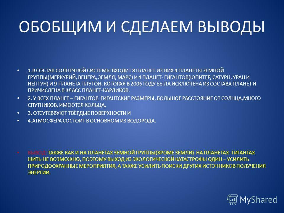 ОБОБЩИМ И СДЕЛАЕМ ВЫВОДЫ 1. В СОСТАВ СОЛНЕЧНОЙ СИСТЕМЫ ВХОДИТ 8 ПЛАНЕТ.ИЗ НИХ 4 ПЛАНЕТЫ ЗЕМНОЙ ГРУППЫ(МЕРКУРИЙ, ВЕНЕРА, ЗЕМЛЯ, МАРС) И 4 ПЛАНЕТ- ГИГАНТОВ(ЮПИТЕР, САТУРН, УРАН И НЕПТУН) И 9 ПЛАНЕТА ПЛУТОН, КОТОРАЯ В 2006 ГОДУ БЫЛА ИСКЛЮЧЕНА ИЗ СОСТАВА