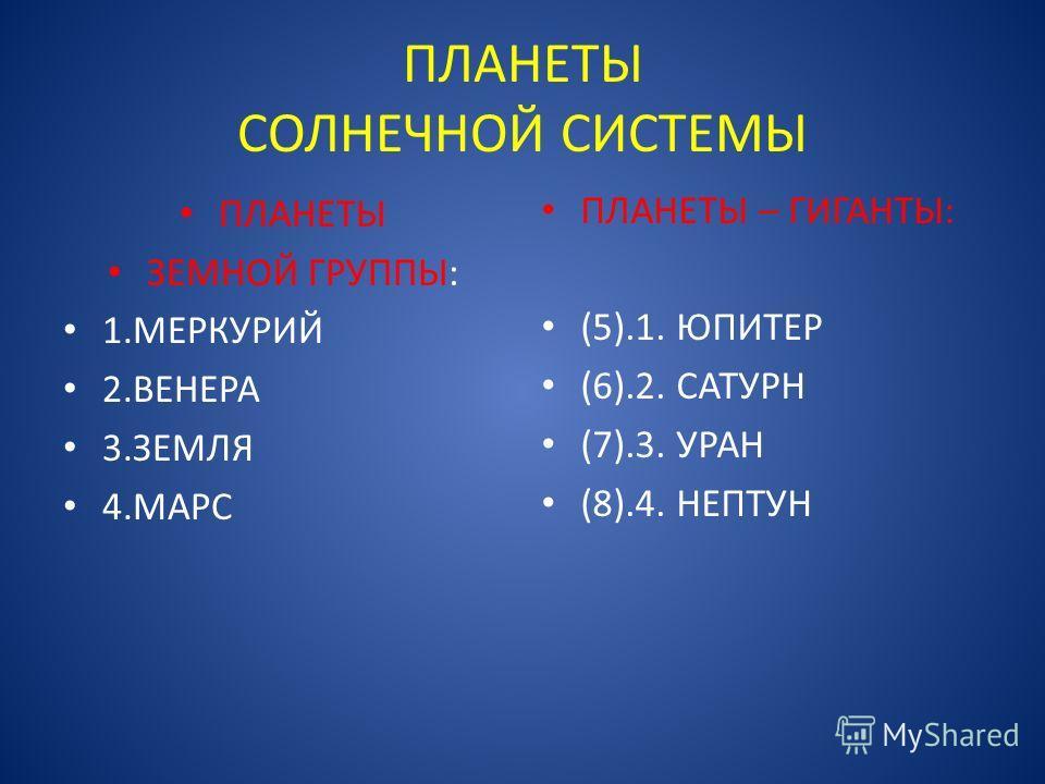 ПЛАНЕТЫ СОЛНЕЧНОЙ СИСТЕМЫ ПЛАНЕТЫ ЗЕМНОЙ ГРУППЫ: 1. МЕРКУРИЙ 2. ВЕНЕРА 3. ЗЕМЛЯ 4. МАРС ПЛАНЕТЫ – ГИГАНТЫ: (5).1. ЮПИТЕР (6).2. САТУРН (7).3. УРАН (8).4. НЕПТУН