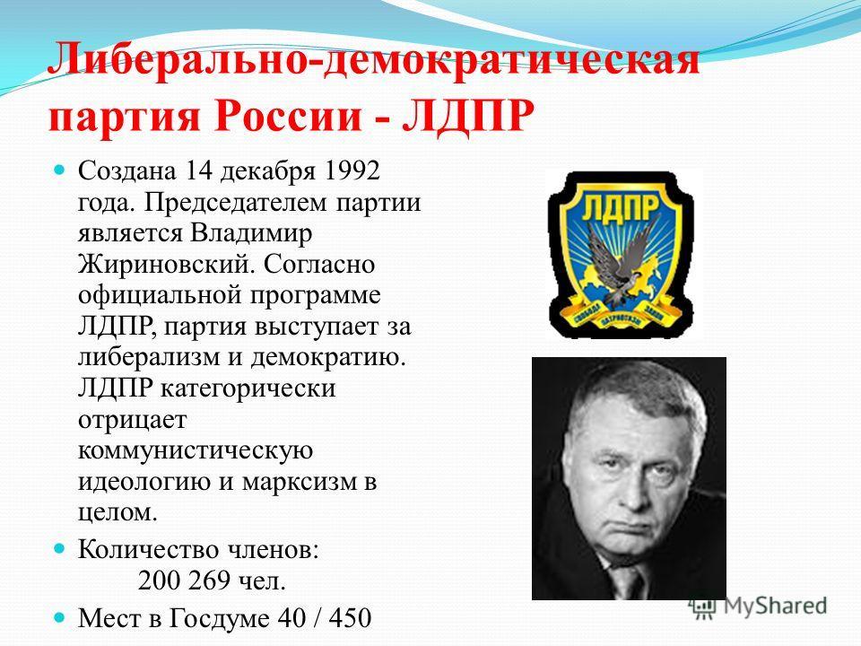 Либерально-демократическая партия России - ЛДПР Создана 14 декабря 1992 года. Председателем партии является Владимир Жириновский. Согласно официальной программе ЛДПР, партия выступает за либерализм и демократию. ЛДПР категорически отрицает коммунисти