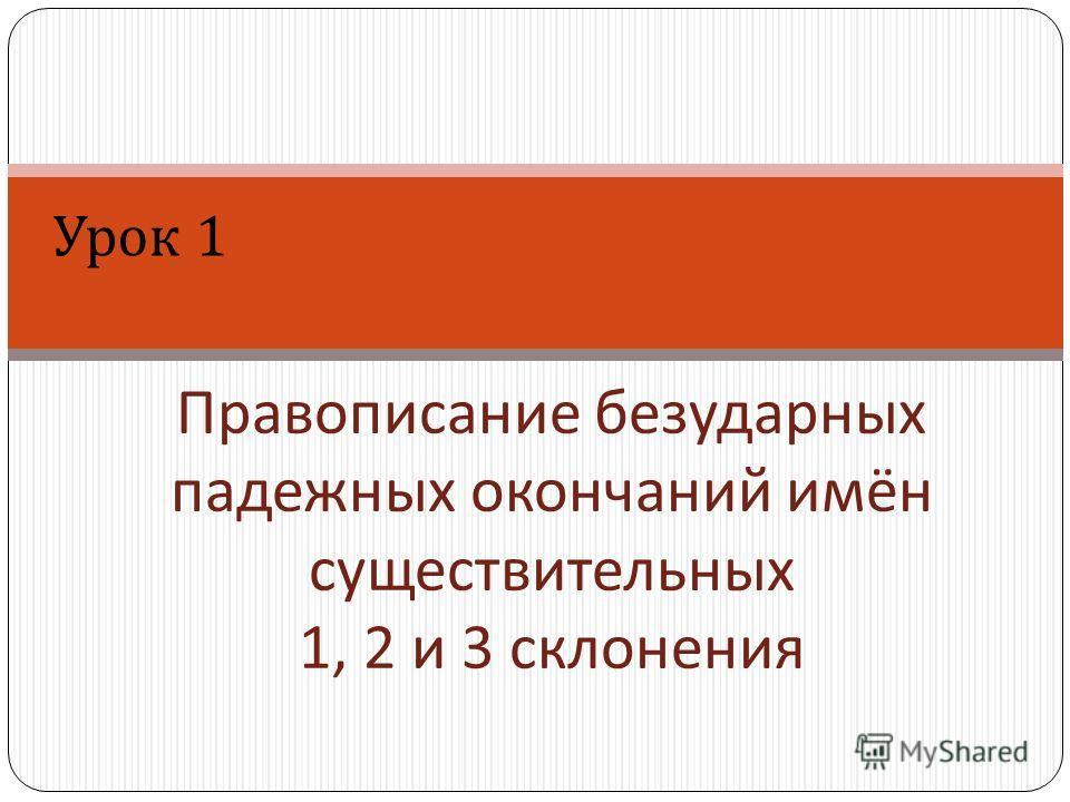 Правописание безударных падежных окончаний имён существительных 1, 2 и 3 склонения Урок 1