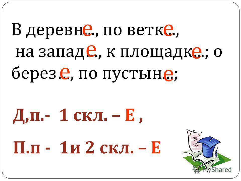 В деревние..., по ветки..., на запад…, к площадке...; о берез…, по пустынь...; е е е е е е Д,п.- 1 скл. – Е, П.п - 1 и 2 скл. – Е