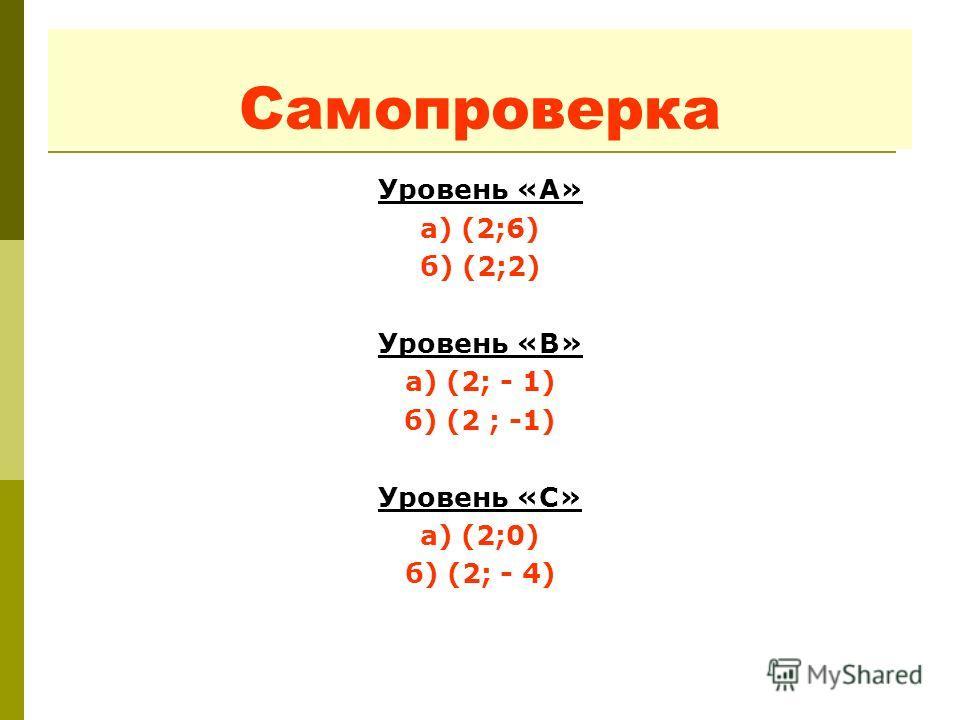 Самопроверка Уровень «А» а) (2;6) б) (2;2) Уровень «B» а) (2; - 1) б) (2 ; -1) Уровень «С» а) (2;0) б) (2; - 4)