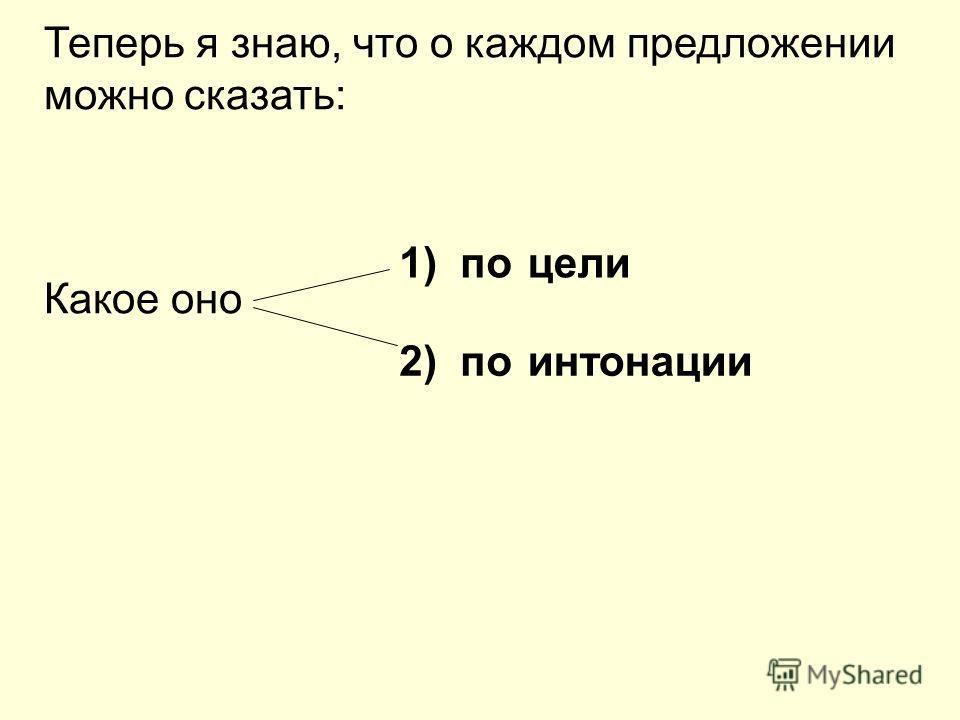 Теперь я знаю, что о каждом предложении можно сказать: Какое оно 1) по 2) по цели интонации