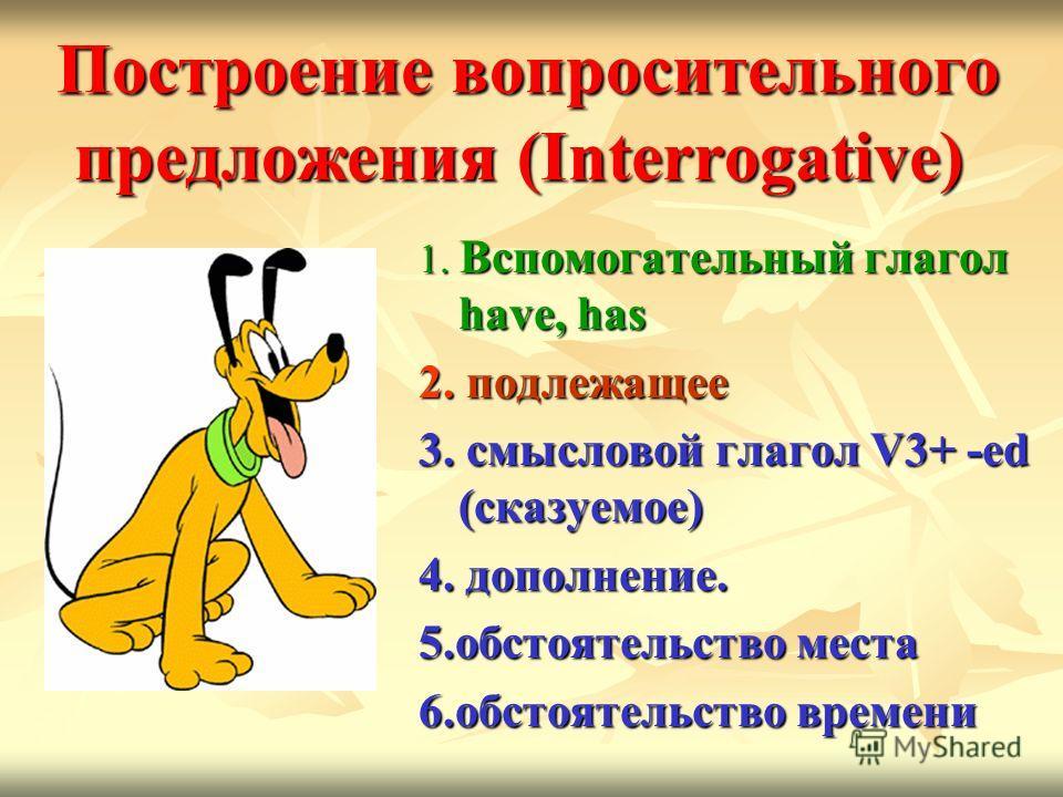 Построение вопросительного предложения (Interrogative) Построение вопросительного предложения (Interrogative) 1. Вспомогательный глагол have, has 2. подлежащее 3. смысловой глагол V3+ -ed (сказуемое) 4. дополнение. 5. обстоятельство места 6. обстояте