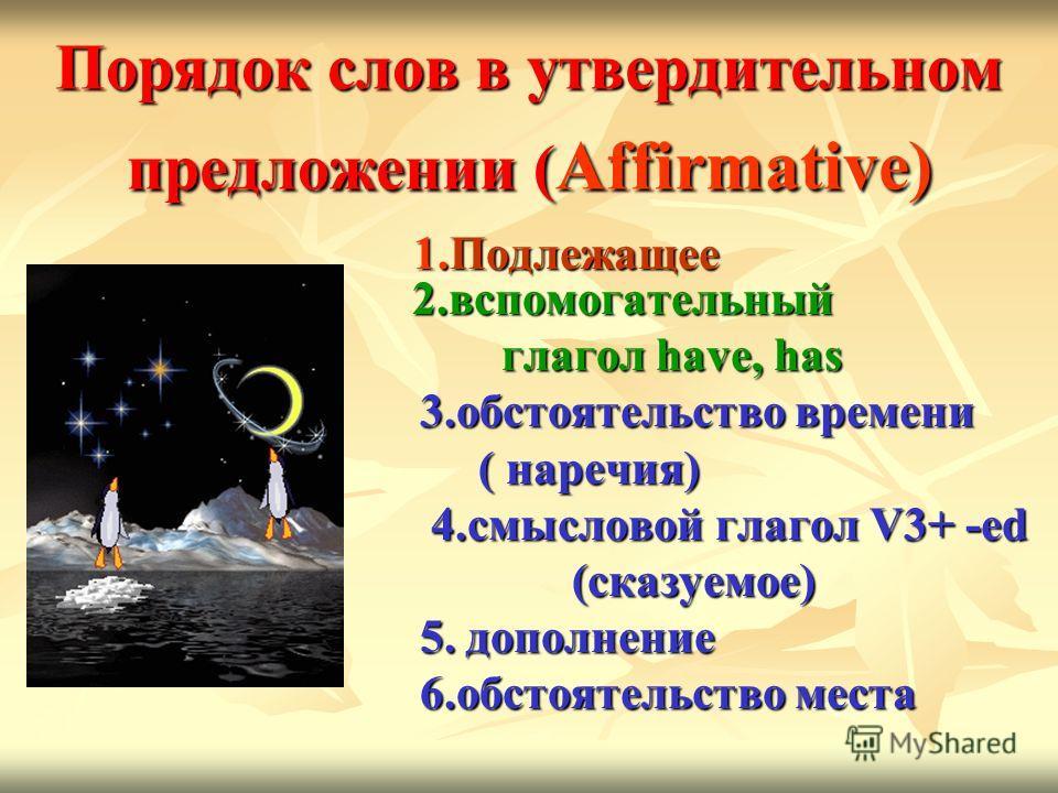 Порядок слов в утвердительном предложении ( Affirmative) 1. Подлежащее 2. вспомогательный 1. Подлежащее 2. вспомогательный глагол have, has глагол have, has 3. обстоятельство времени 3. обстоятельство времени ( наречия) ( наречия) 4. смысловой глагол
