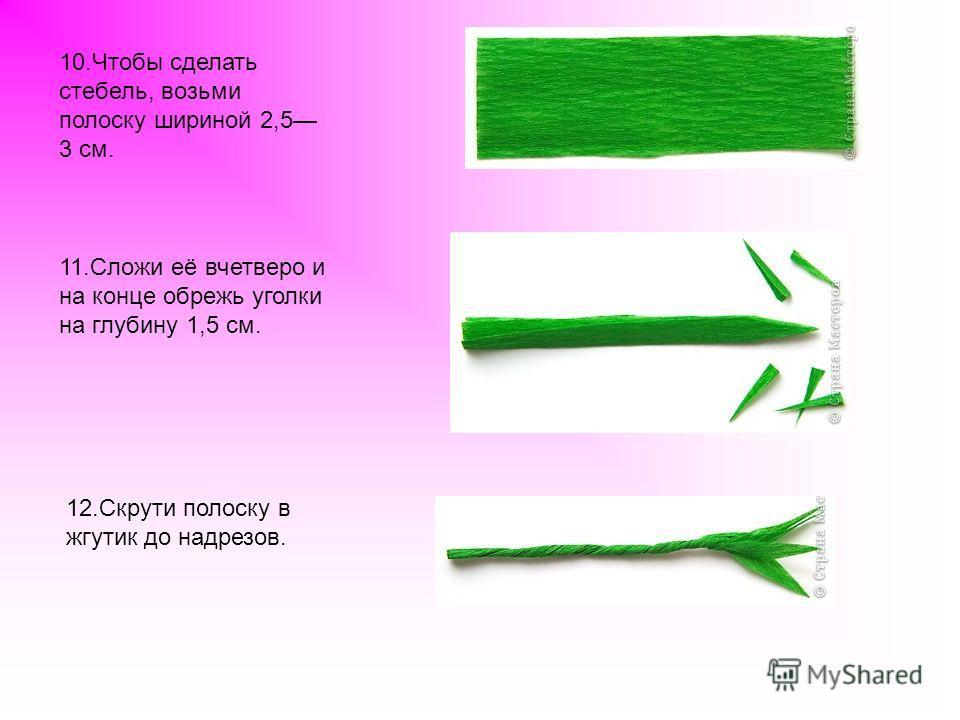 10. Чтобы сделать стебель, возьми полоску шириной 2,5 3 см. 11. Сложи её вчетверо и на конце обрежь уголки на глубину 1,5 см. 12. Скрути полоску в жгутик до надрезов.