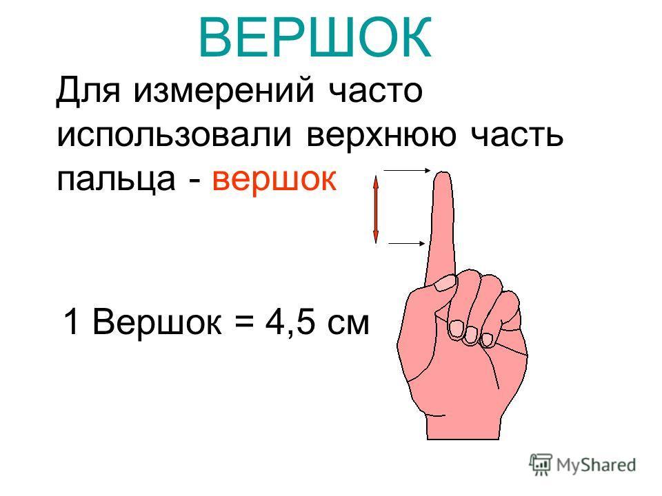 Для измерений часто использовали верхнюю часть пальца - вершок ВЕРШОК 1 Вершок = 4,5 см