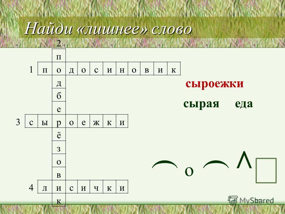 Разгадай кроссворд 2 п 1 подосиновик д б е 3 сыроежки ё з о в 4 лисички к 26