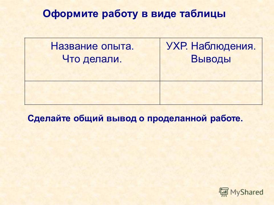 Оформите работу в виде таблицы Название опыта. Что делали. УХР. Наблюдения. Выводы Сделайте общий вывод о проделанной работе.